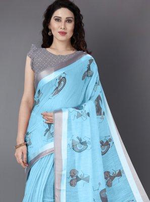 Cotton Printed Blue Casual Saree