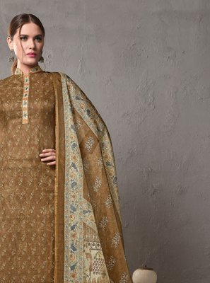 Cotton Printed Brown Salwar Suit