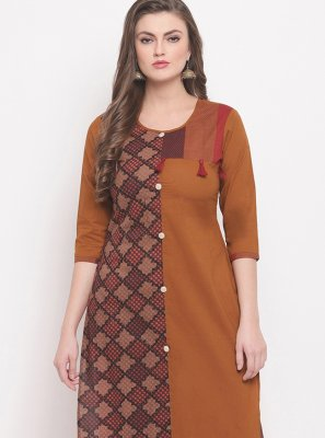Cotton Printed Casual Kurti in Brown