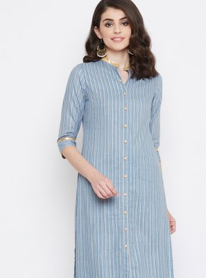 Cotton Printed Casual Kurti in Grey