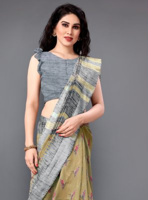 Cotton Printed Casual Saree in Beige