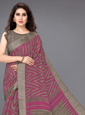 Cotton Printed Casual Saree in Pink