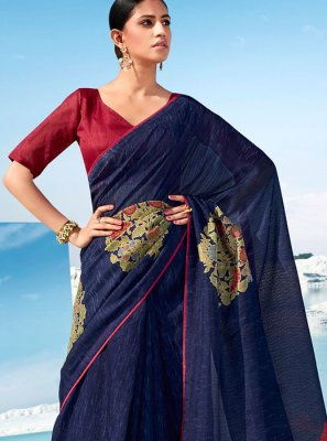 Cotton Printed Classic Saree in Blue
