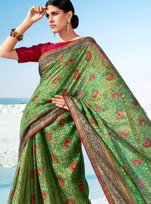 Cotton Printed Classic Saree in Green