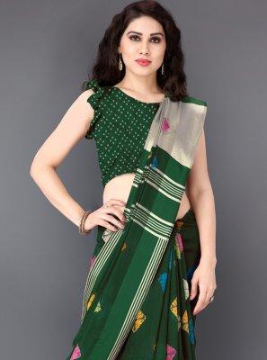 Cotton Printed Classic Saree in Green