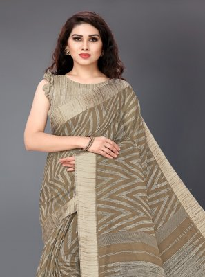 Cotton Printed Classic Saree in Grey