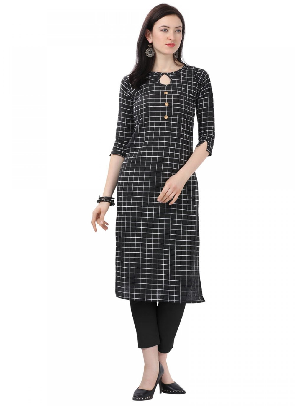 Cotton Printed Designer Kurti in Black
