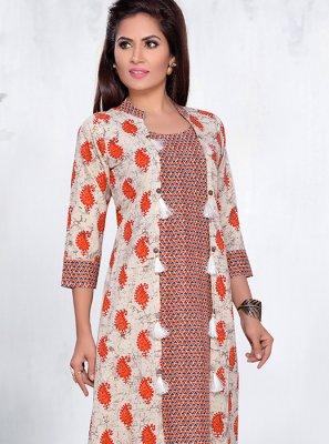 Cotton Printed Designer Kurti in Cream and Orange