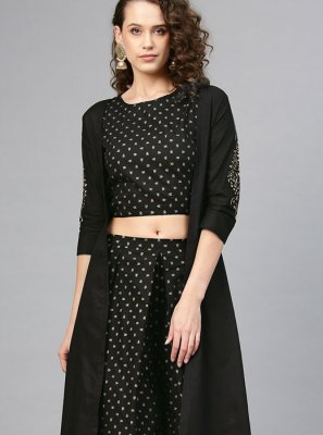 Cotton Printed Designer Palazzo Suit in Black