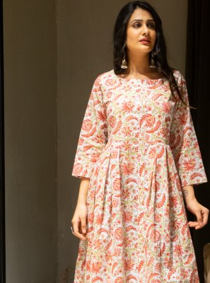 Cotton Printed Gown  in Multi Colour