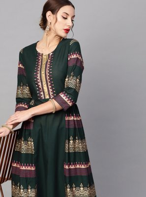 Cotton Printed Green Casual Kurti