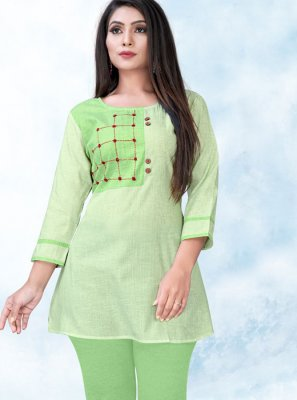Cotton Printed Green Designer Kurti