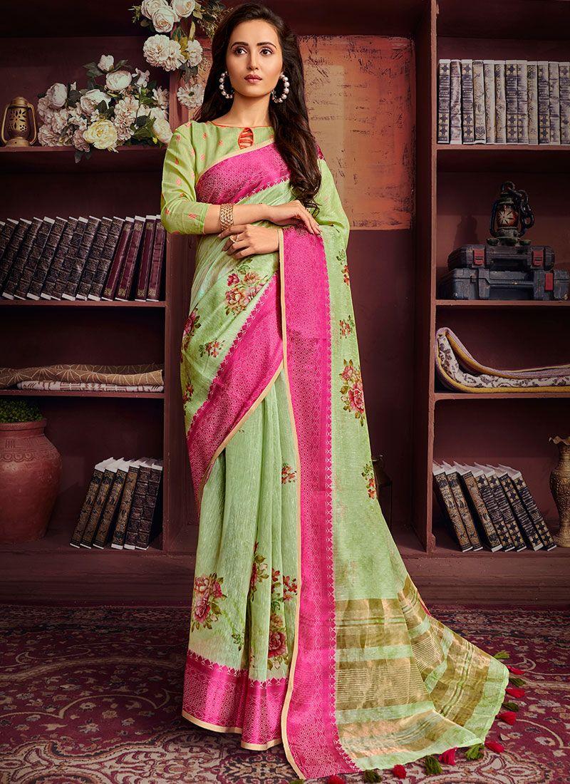 Cotton Printed Green Printed Saree