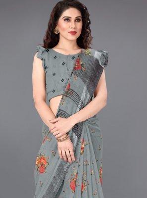 Cotton Printed Grey Casual Saree