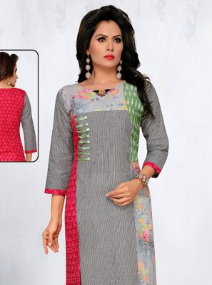 Cotton Printed Grey Designer Kurti