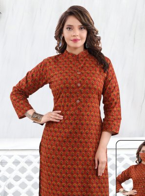 Cotton Printed Maroon Casual Kurti