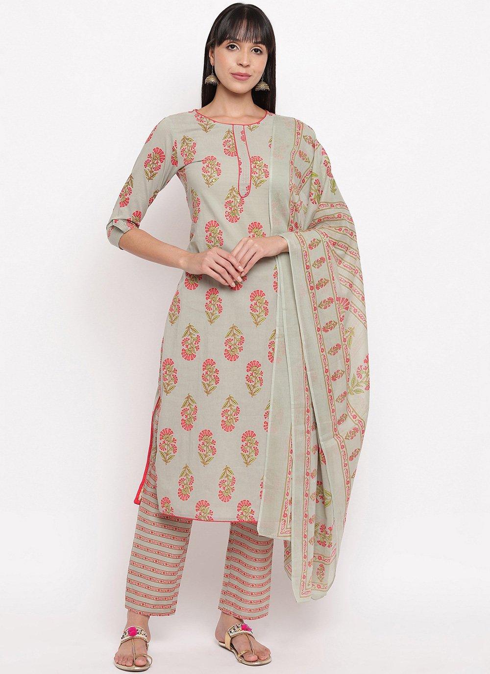 Cotton Printed Multi Colour Designer Salwar Suit