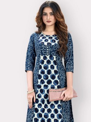 Cotton Printed Navy Blue Casual Kurti