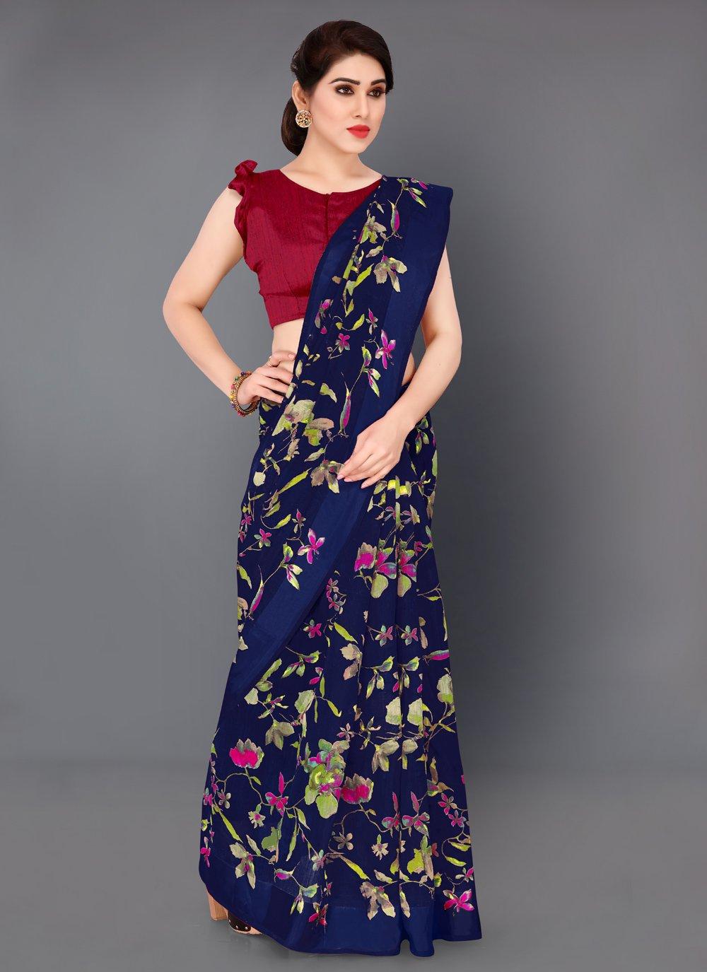 Cotton Printed Navy Blue Classic Saree