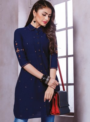 Cotton Printed Navy Blue Party Wear Kurti