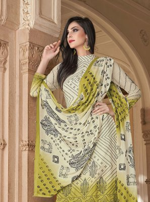 Cotton Printed Off White Salwar Kameez