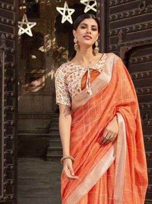 Cotton Printed Orange Printed Saree