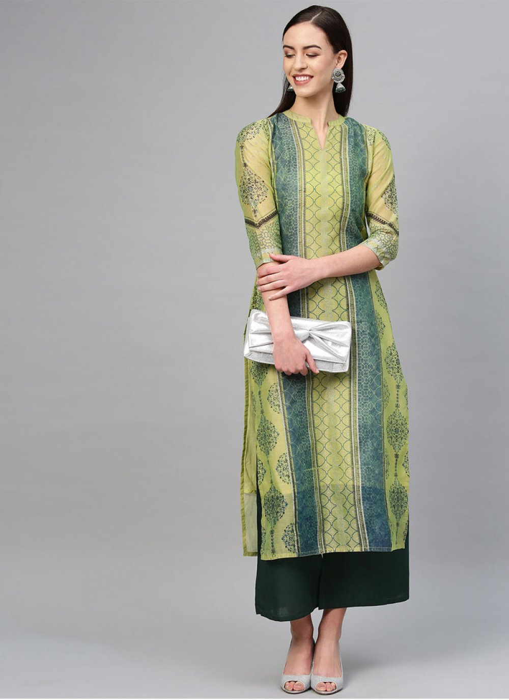 Cotton Printed Party Wear Kurti in Green