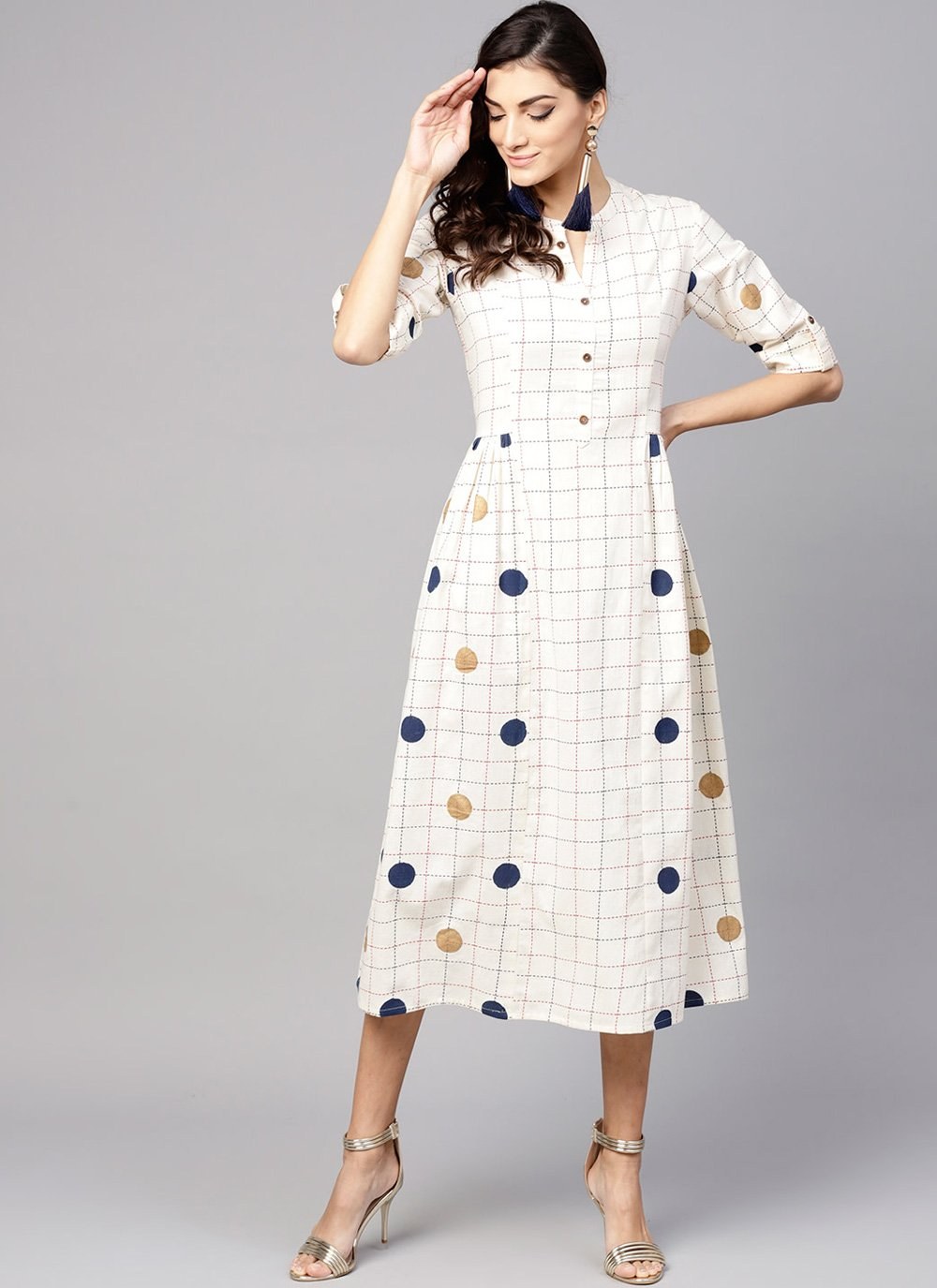 Cotton Printed Party Wear Kurti in Off White