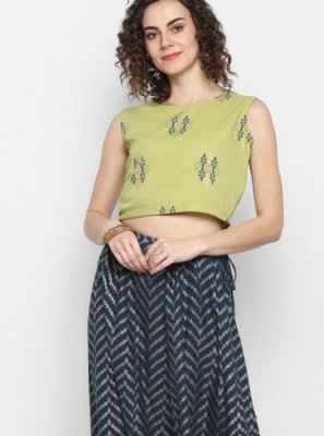 Cotton Printed Party Wear Kurti in Sea Green