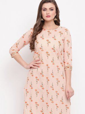 Cotton Printed Peach Casual Kurti