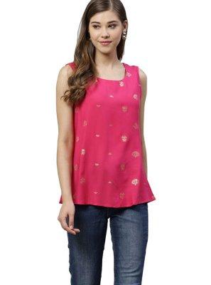 Cotton Printed Pink Designer Kurti