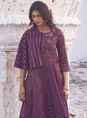 Cotton Printed Purple Party Wear Kurti