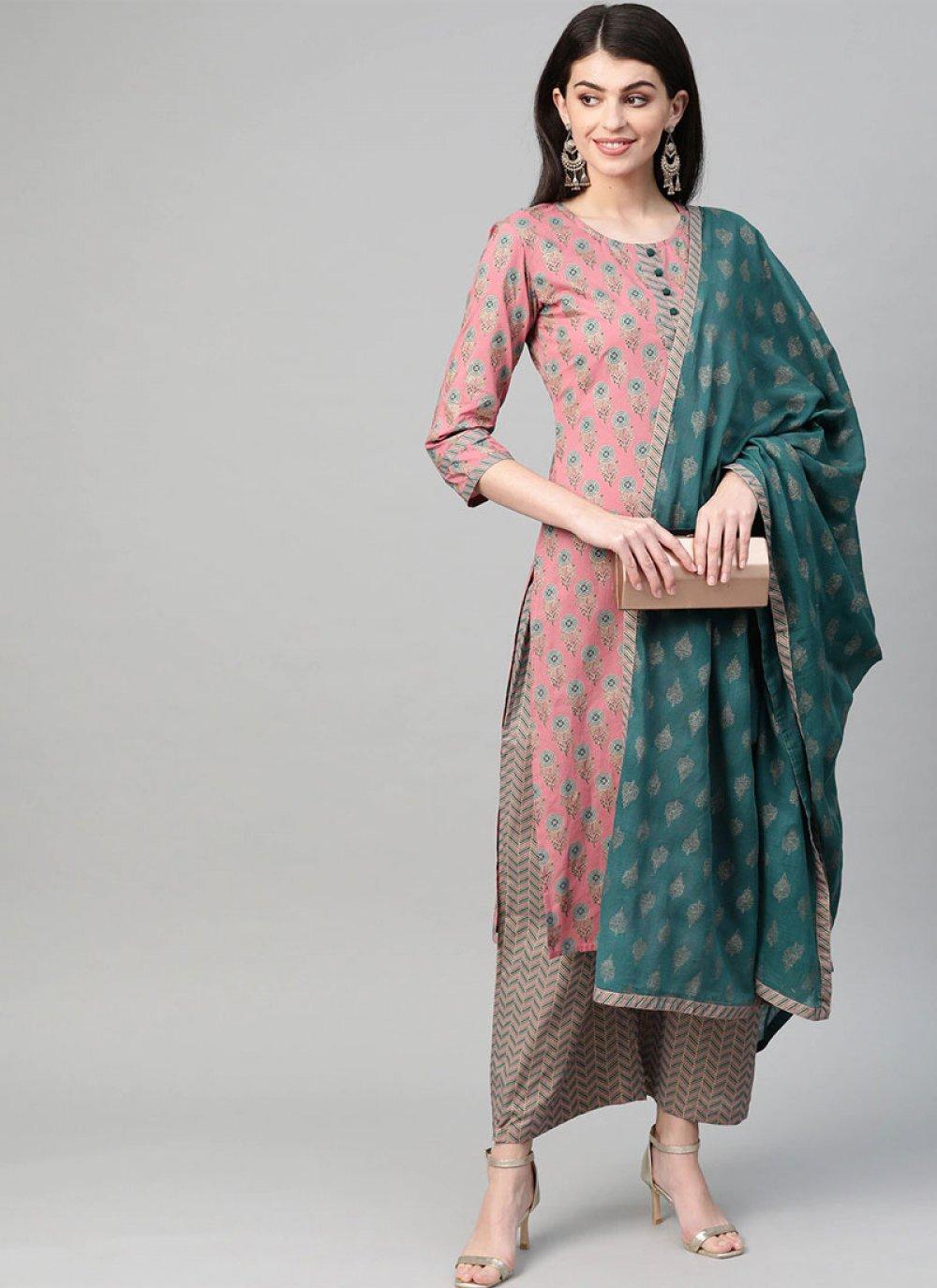 Cotton Printed Salwar Kameez in Green and Pink