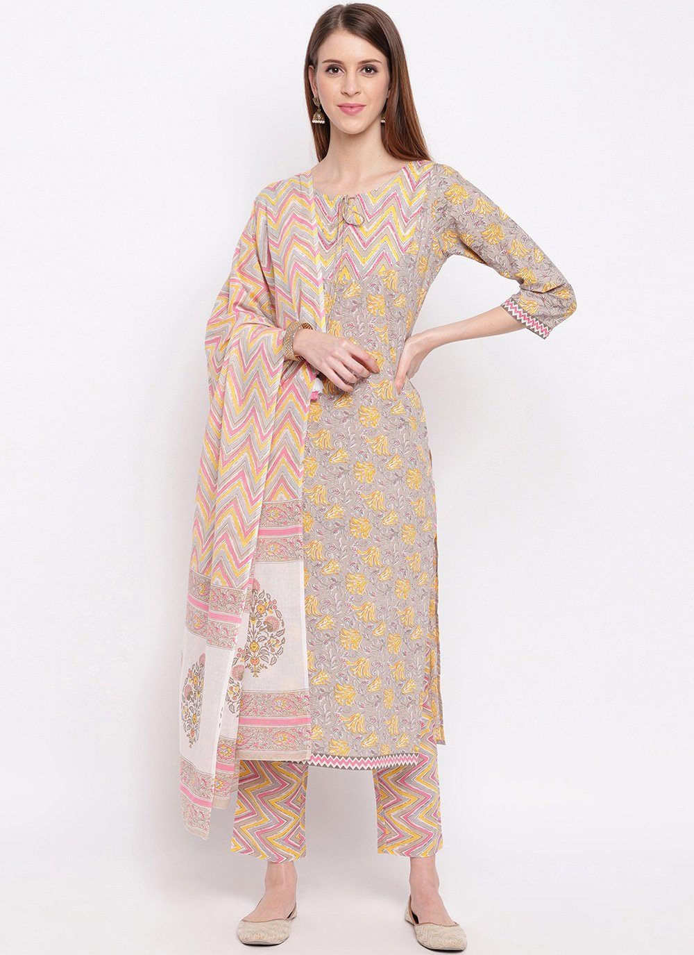 Cotton Printed Salwar Kameez in Multi Colour