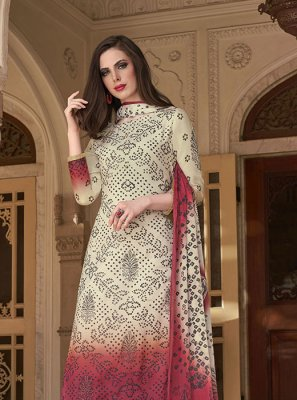 Cotton Printed Salwar Kameez in Off White