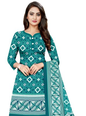 Cotton Printed Salwar Suit in Blue