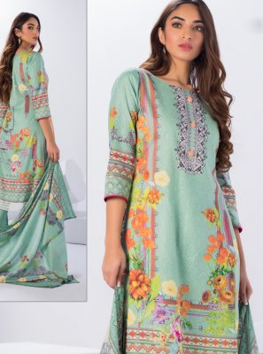 Cotton Printed Salwar Suit in Sea Green