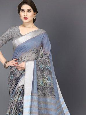 Cotton Printed Saree in Grey