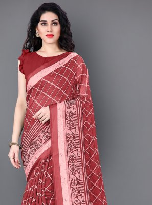 Cotton Printed Traditional Saree in Maroon