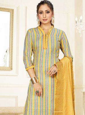 Cotton Printed Trendy Salwar Suit in Yellow