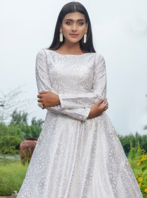 Cotton Printed White Floor Length Trendy Gown
