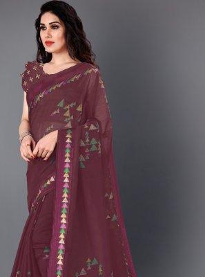 Cotton Printed Wine Designer Saree