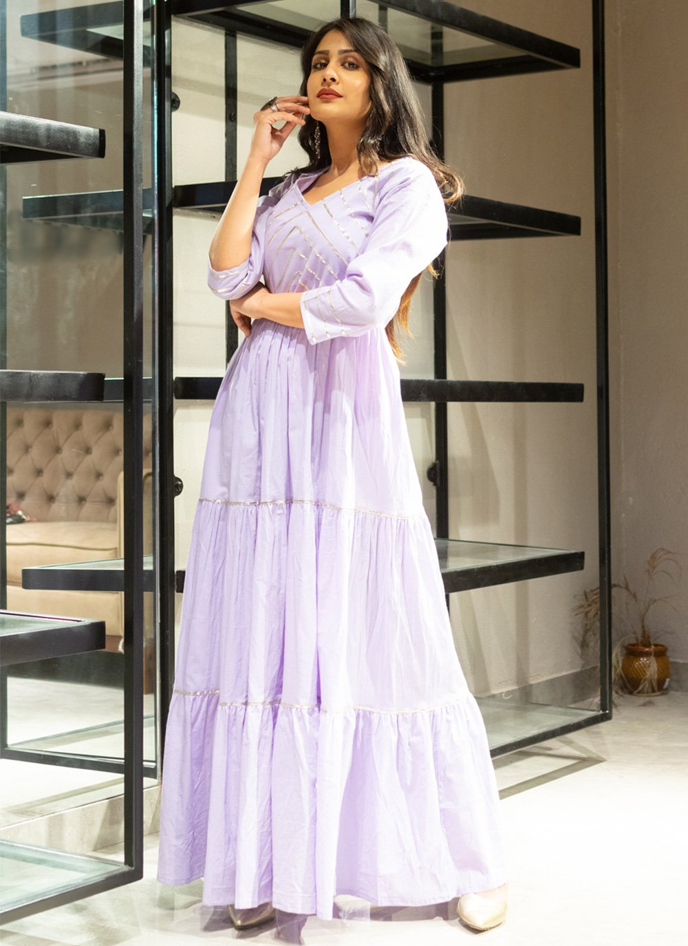 Cotton Purple Lace Designer Gown