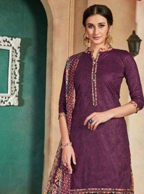 Cotton Purple Printed Patiala Suit