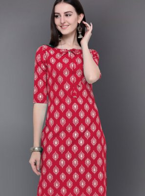 Cotton Red Print Casual Kurti
