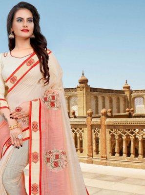 Cotton Resham Cream and Pink Classic Saree