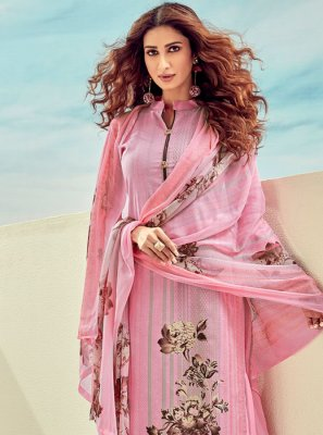 Cotton Rose Pink Digital Print Salwar Kameez