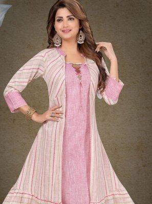 Cotton Rose Pink Embroidered Designer Salwar Suit