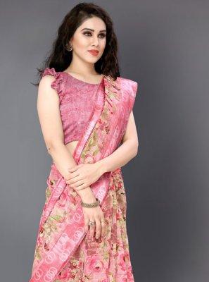 Cotton Rose Pink Floral Print Casual Saree