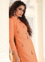 Cotton Salwar Suit in Peach